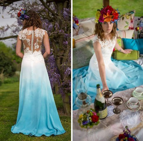 abiti da sposa 2017 dip-dyed: azzurro
