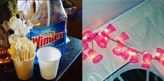 Bicchieri di plastica portaoggetto e filo di luci fatto con bicchieri di plastica