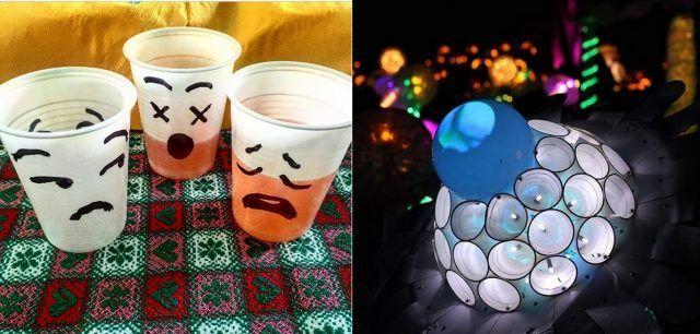 Bicchieri di plastica segnaposto e lampada con bicchieri di plastica