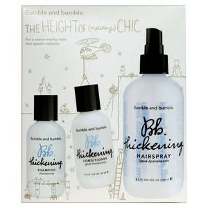 Bumble and bumble, Cofanetto Trio Thickening, per dare volume ai capelli: contiene shampoo volumizzante, conditioner volumizzante, lacca volumizzante. 27.50 euro.