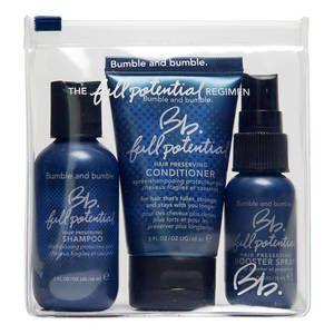 Bumble and Bumble Full Potential per rinforzare e volumizzare i capelli: contiene shampoo, balsamo, spray rinforzante e volumizzante. 29.90 euro.