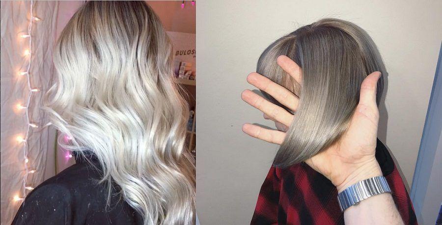 Taglio lungo e corto con i capelli grigi/silver