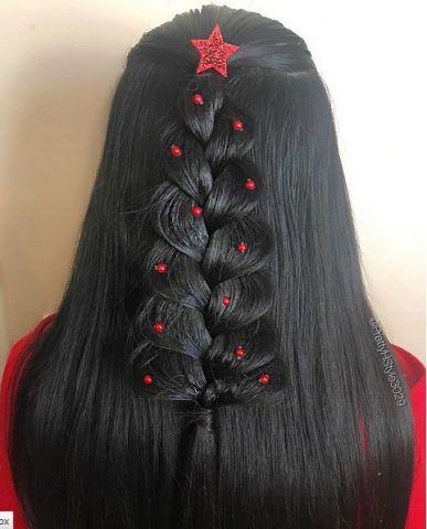 Christmas Tree Hair con contrasto di colori