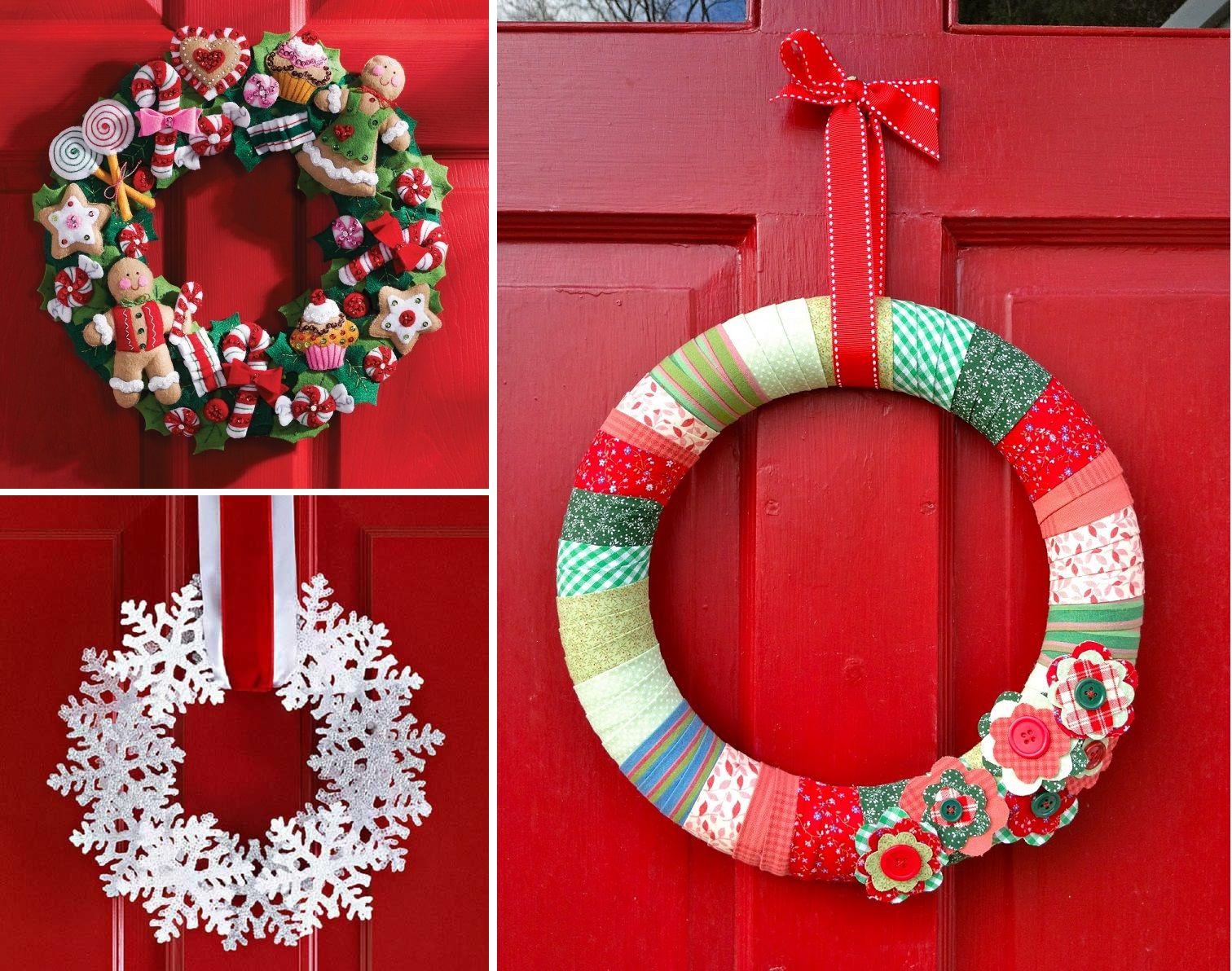 Ghirlande di Natale con carta e stoffa