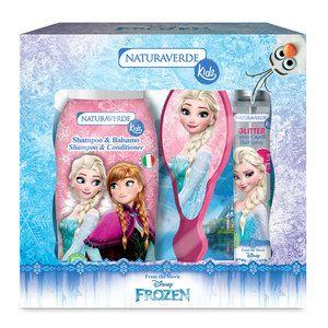 Cofanetto bagno Naturaverde Kids, linea Frozen con shampoo e balsamo, spray glitter per capelli, spazzola. 10.90 euro.