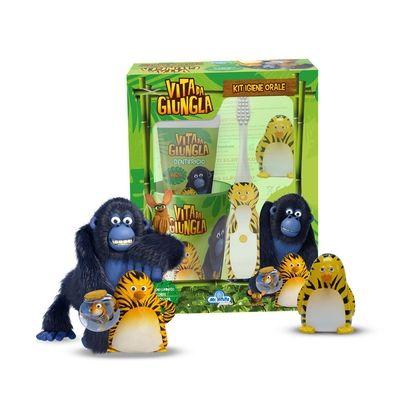 Cofanetto Oral Care Vita da giungla, con spazzolino luminoso, dentifricio, bicchiere, personaggio 3D. 10,90 euro.