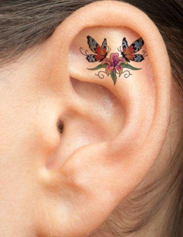 Tatuaggi sull'orecchio, fiori