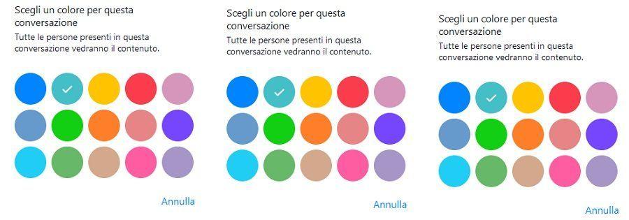 I colori disponibili nella chat di Facebook Messenger