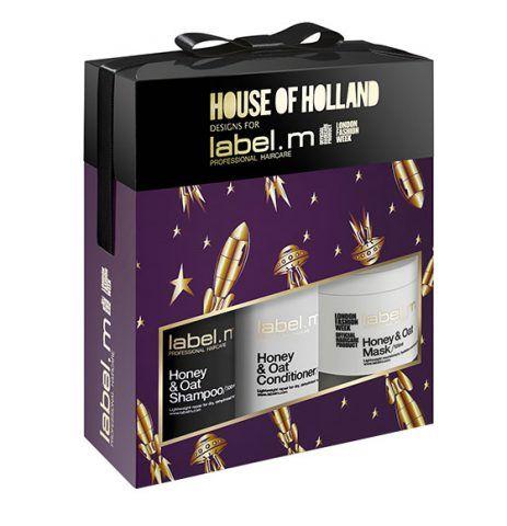 label.m House of Holland Honey & Oat Pampering Trio, shampoo, balsamo e maschera. 45.70 sterline.