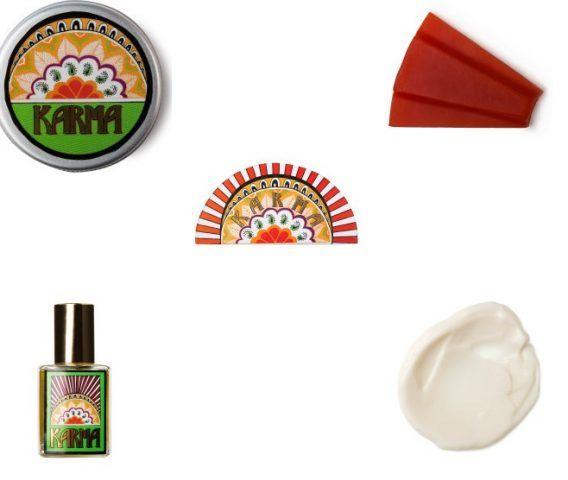 Lush, Karma Gift, una collezione che si ispira alle note esotiche di patchouli e contiene profumo solido, sapone, profumo, crema per il corpo. 65 euro.