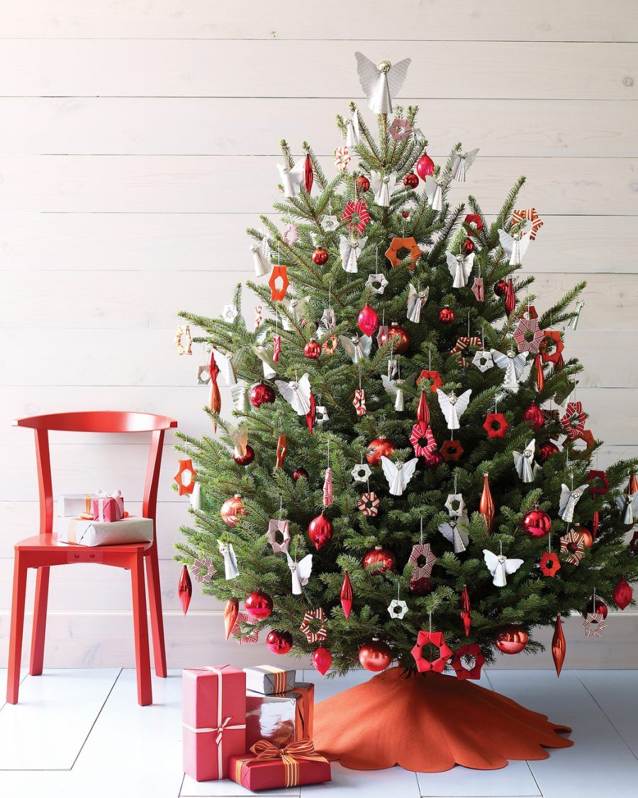 Addobbi albero di natale bianco e rosso