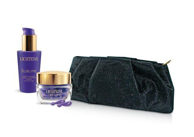 Lichtena per Natale propone anche il cofanetta della linea Sublime, per pelli mature, con elegante pochette in regalo.