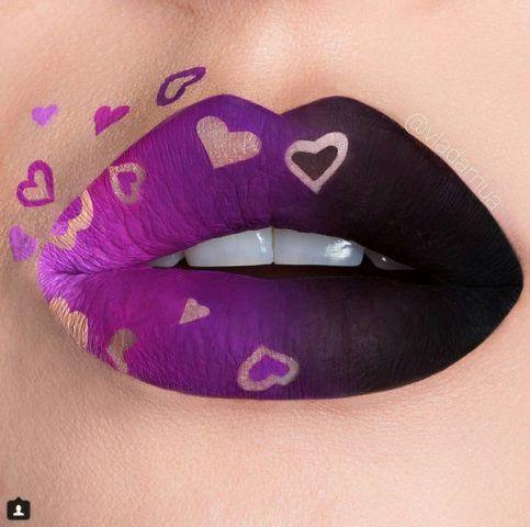 Negative Space Lip Art: cuori in negativo
