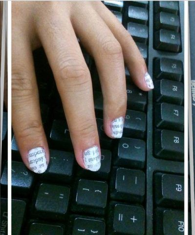 Newspaper Nail Art per blogger