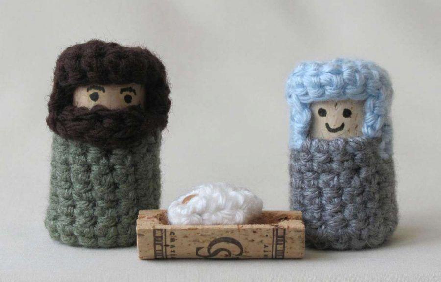 Presepe con tappi di sughero e lana