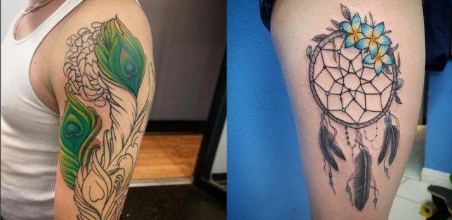 Tatuaggio con piuma di pavone e indiano