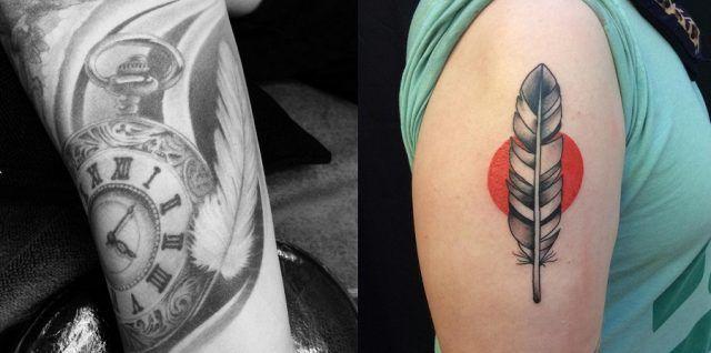 Tatuaggio con piuma, orologio e sole