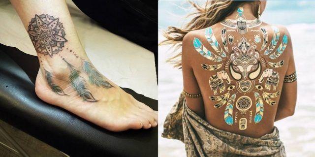 Tatuaggi con piume d'aquila