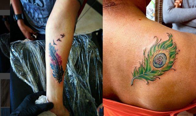 Tatuaggi con piume e rondini e piumad i pavone