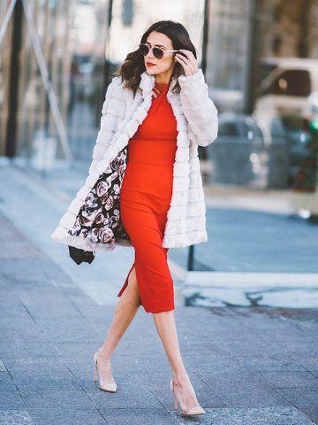 Tubino rosso ed ecopelliccia - Dal blog Hello Fashion Blog