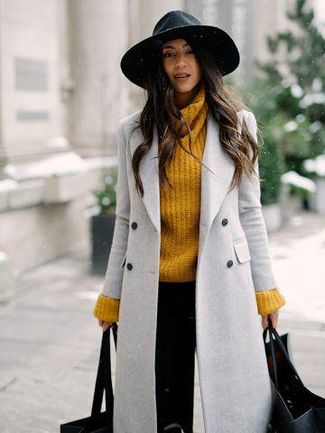 Cappotto grigio e maglione giallo - Dal blog Not your Standard