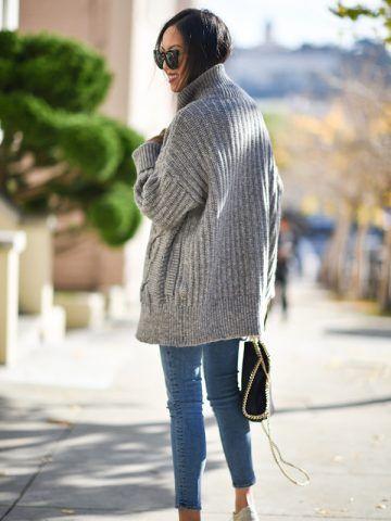 Maxi maglione e sneakers - Dal blog 9to5 chic