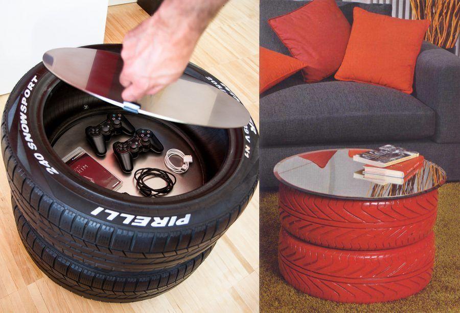 tavolino da salotto con pneumatici