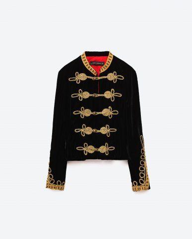 Giacca velluto con alamari Zara €79,95