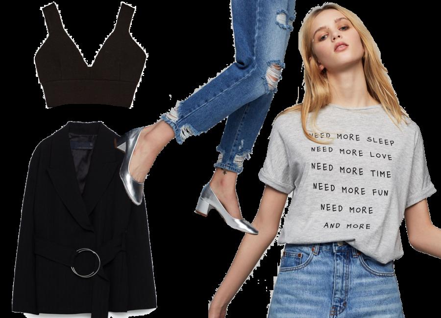Crop Top Zara 25€ / Jeans e scarpe Pulle&Bear / Tee Pull&Bear 8€ / Giacca Zara80€
