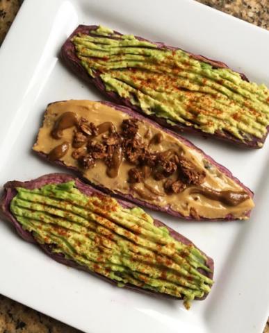 Sweet potato toast con verdure