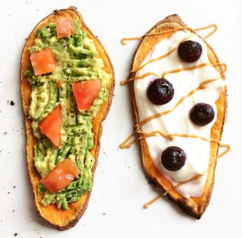 Sweet potato toast con verdure o formaggio