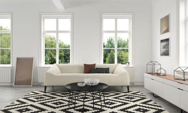 Un tappeto bianco nero