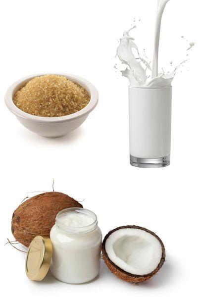 Scrub con zucchero, latte e olio di cocco
