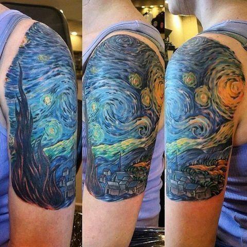 Tatuaggi ispirati a famosi dipinti: Van Gogh, notte stellata