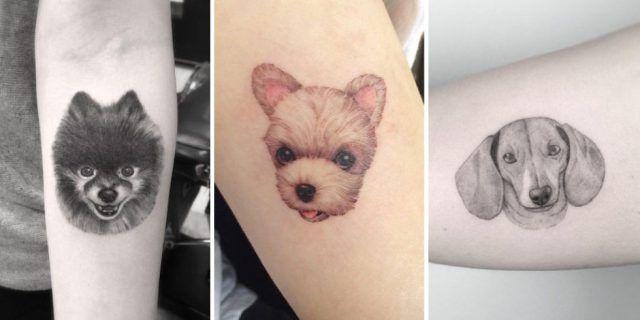 Tatuaggio dedicato ai cani con un bel primo piano di Fido
