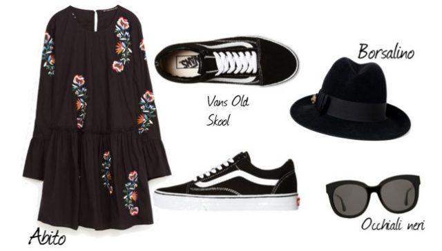 Abito, borsalino, occhiali neri e Vans outfit da sfoggiare ad inizio primavera