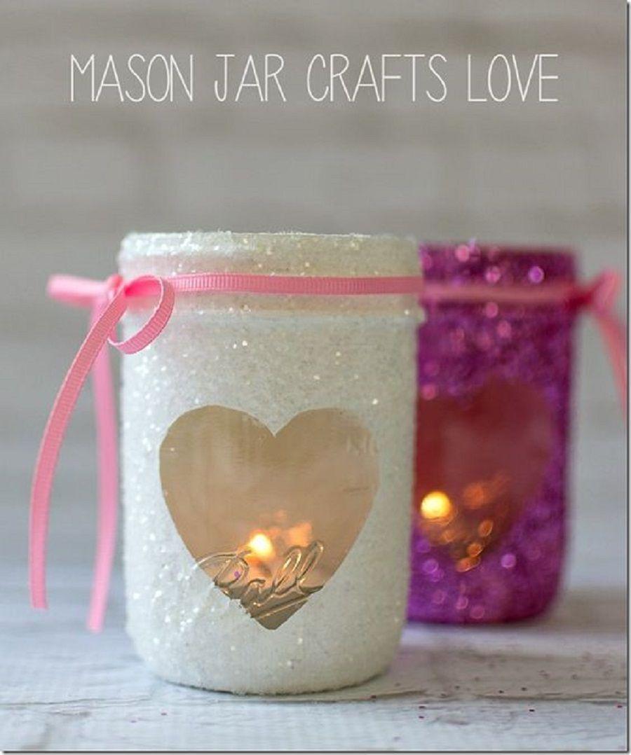 Vasetti con glitter per le candele