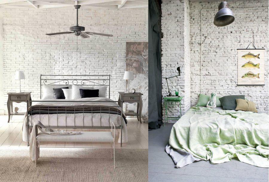 Camera letto in mattoni