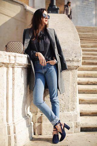 Cappotto grigio e jeans - Dal blog Style Scrapbook