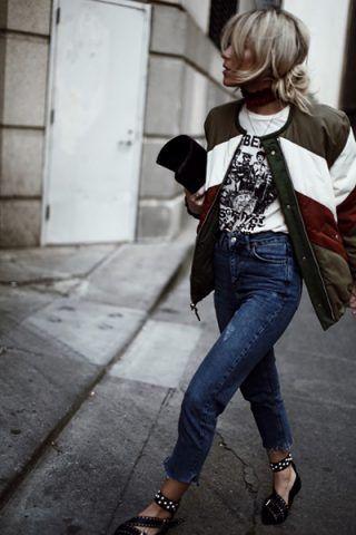 Bomber, jeans e ballerine - Dal blog Happily Grey