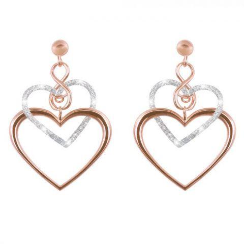 Orecchini cuore in ottone rosato e glitter €69,90 Stroili