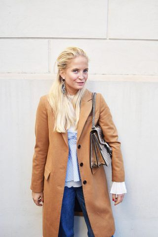 Cappotto color cammello e jeans - Dal blog Nathalie Helgerld