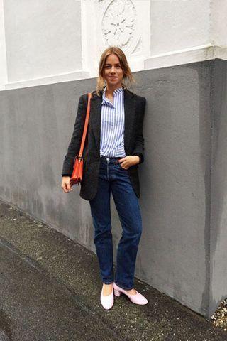 Blazer, camicia a righe e denim - Dal blog Trine's Wardrobe