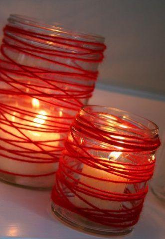 Barattoli decorati con filo rosso