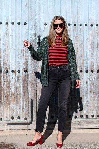 T-shirt a righe e jeans grigi - Dal blog Clochet