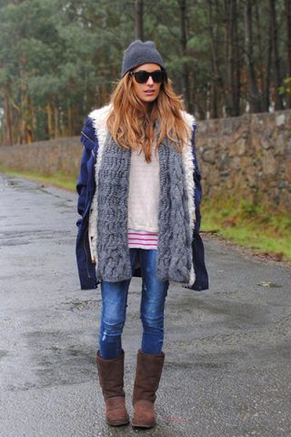 Jeans + parka blu