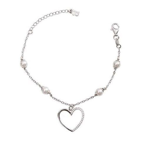 Bracciale in argento con perle Swarovski e cuore di zirconi €62 Boccadamo