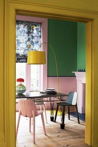 Verde, rosa e giallo per un ambiente spiritoso