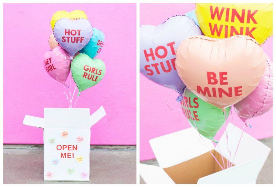 scatola con palloncini per san valentino