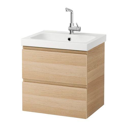 GODMORGON / ODENSVIK Mobile per lavabo con 2 cassetti, rovere con mordente bianco effetto rovere con mordente bianco € 169